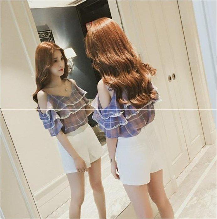 短袖雪紡衫女裝夏季新款一字露肩上衣韓版修身V領荷葉邊吊帶小衫