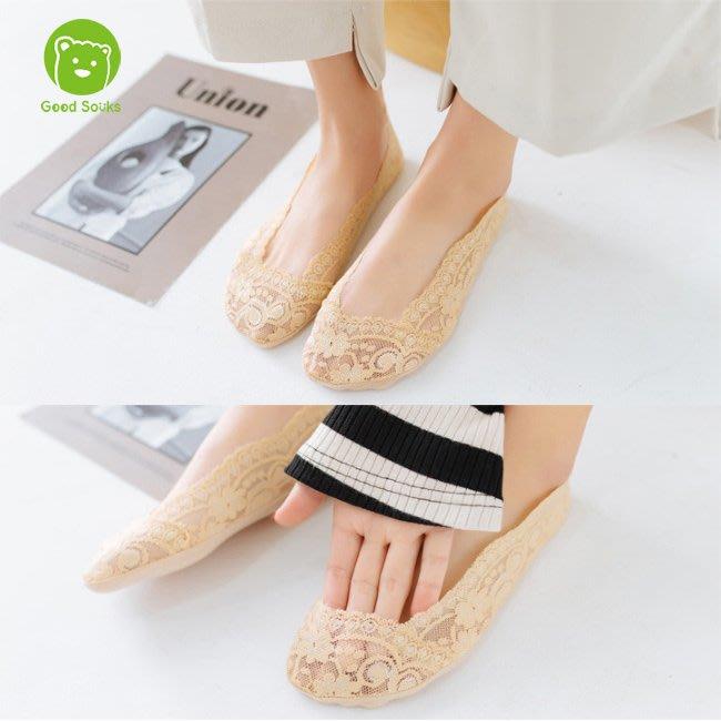 女襪 韓國蕾絲隱形襪船型襪防滑襪綿底360度防止滑【Good Socks】