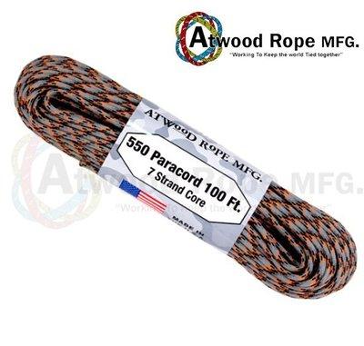 Atwood Rope 鑄造灰橘黑色傘繩 / 100呎 / P37-DIE CAST