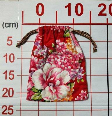 【二手衣櫃】日式風格 束口袋 花朵 繽紛 紅色可愛 束口包 和風 甜美 收納包 束口包 日式 風格 布質 1080523