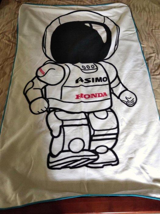 ~櫻花雨~收藏品 日本帶回 HONDA ASIMO 機器人 白色薄毛毯  超稀有 HONDA MOTOR白色無瑕疵如新 尺寸156*110