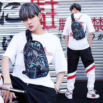 ()胸包男帆布包時尚胸前新款包多功能單肩斜跨包男新士大容量運動背包#男包#MK-036