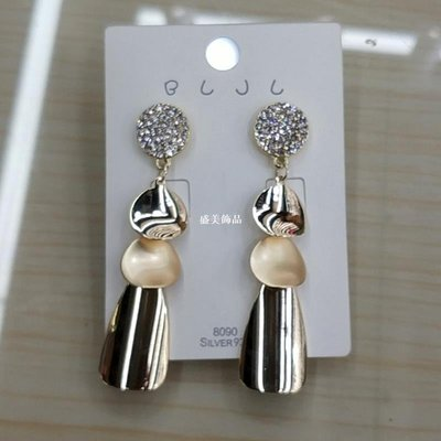盛美飾品亮片鑲鉆耳環 鍍金正韓 流行耳環
