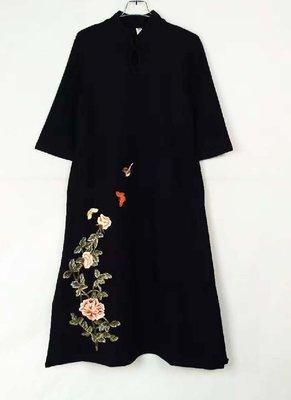 全網最低價 經典名族服針織棉連衣裙秋冬新款修身繡花中袖半圓領套頭時尚民族風中式女裝