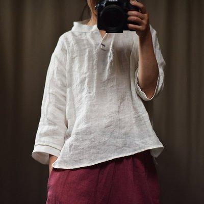 七分袖上衣/V領文藝簡約素雅襯衫(老銀屋)