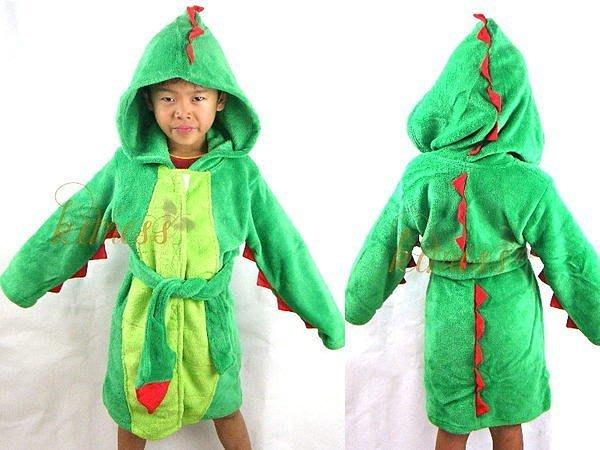 兒童恐龍造型珊瑚絨連帽浴袍浴巾包巾洗澡必備可當睡衣 kimiss【WJ018】