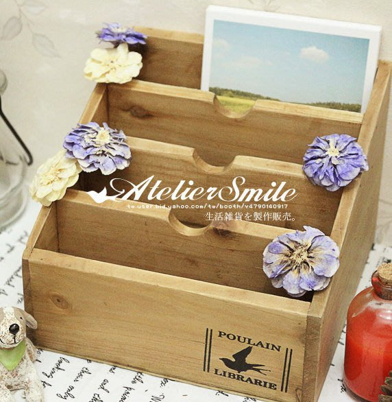[ Atelier Smile ] 鄉村雜貨  舊木四層名片盒 桌上筆筒多用收納盒 (現+預)