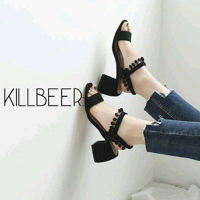 KillBeer:歐美英倫品牌設計師款復古嬉皮名媛流蘇球球粗跟高跟鞋涼鞋zara h&m topshop f21