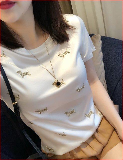 【艾蜜麗】時尚顯瘦小狗釘珠蠶絲拼接圓領短袖上衣 (2色) 1146