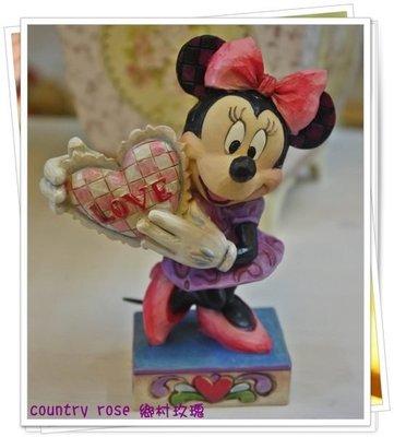 俏皮愛心米妮擺飾 迪士尼 Mickey Disney 裝飾品 生日禮物【鄉村玫瑰】