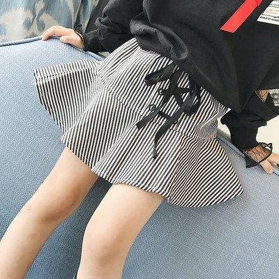 女童半身裙秋裝新款童裝裙子小女孩裙擺不規則系帶條紋短裙A字裙