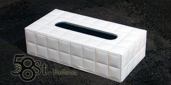 【58街】設計款式「白色羊皮紋皮革製品面紙盒、紙巾盒」。AF-079
