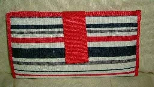 ☆采芯 ☆紅色條紋多用途小化妝包, 化妝筆袋~
