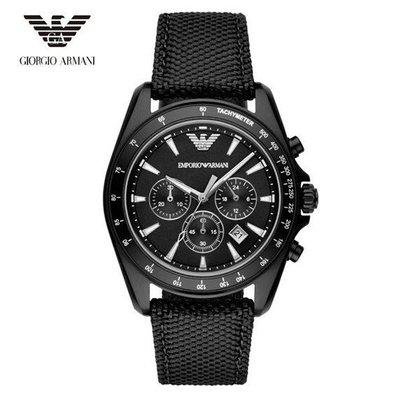 大錶盤Armani亞曼瑪尼三眼日曆期時尚潮流 黑色碼錶計時 男錶AR6131 新北市