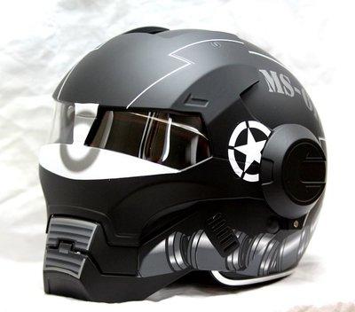 (限量特價)鋼鐵人安全帽 Masei 610 3/4安全帽 IRON MAN 面罩可掀(消光黑)GUNDAM 薩克 吉翁