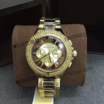 ♥USA代購驛站♥ 100%美國全新正品 熱銷新款 MK5901 奢華時尚 金色 精鋼間琥珀玳瑁鑲鉆女錶 手錶