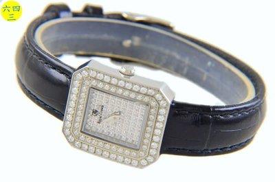 (六四三精品)ROYAL(真品)方型最高檔爪鑲鑽錶,藍寶石水晶鏡面.滿天星(硬度九度)女