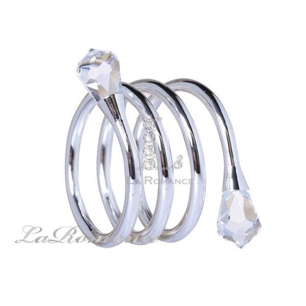 【芮洛蔓 La Romance】奢華鍍銀螺旋水晶餐巾環 (單個)