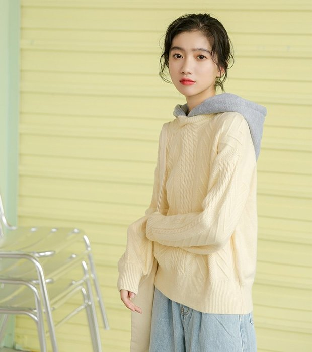 SeyeS 休閒韓系甜美假二件設計感連帽毛衣