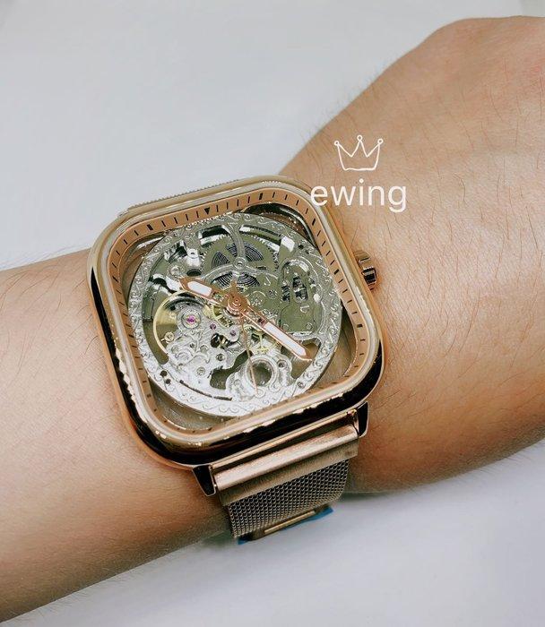 [靚錶閣](限量)罕見玫瑰金方形鏤空機械錶