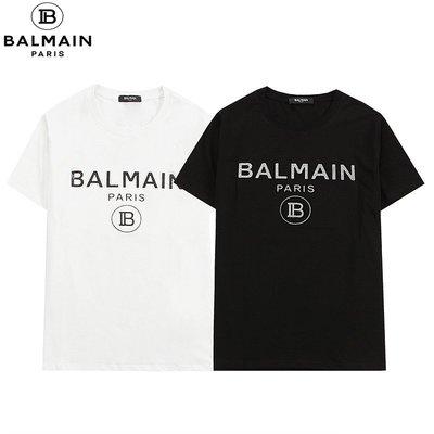 巴爾曼 Balmain 短袖 logo印花T恤 男女同款短袖t桖 時尚上衣 純棉T桖