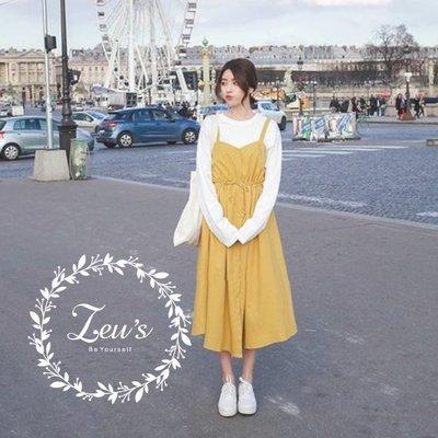 【ZEU'S】休閒復古風收腰吊帶裙『 03419611 』【現+預】CC