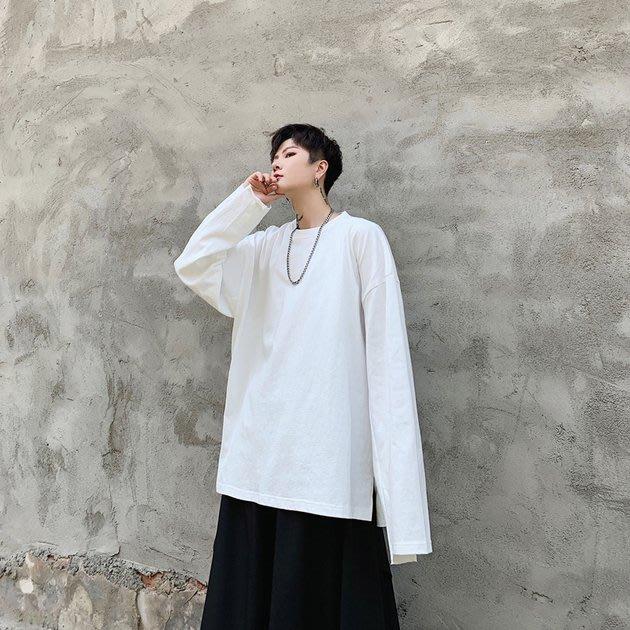 FINDSENSE 2019 秋季上新 G19 日系簡約百搭打底T恤潮流袖口拼接長袖T恤 男裝 上衣 素T