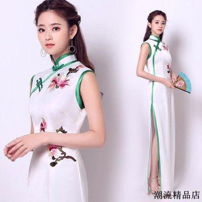 白色短袖晚宴年會演出長款禮服旗袍伴娘服