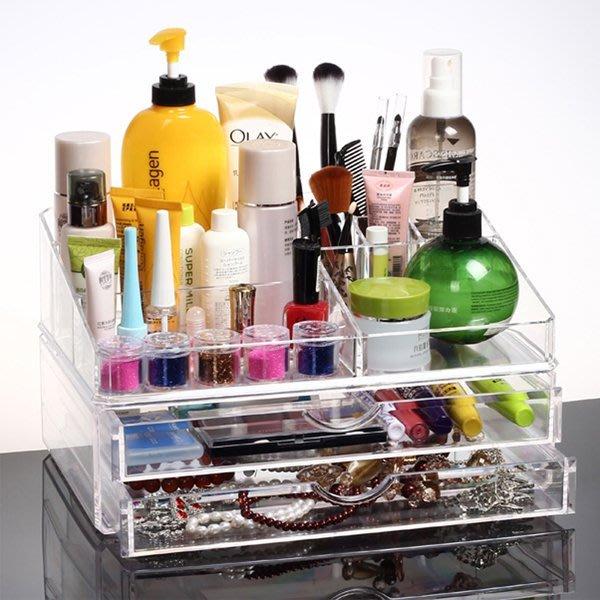 5Cgo【鴿樓】會員有優惠  35263799358 桌面大號洗漱台化妝品收納盒 抽屜式 透明亞克力組合創意盒子 儲物