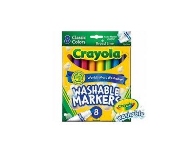 瘋狂寶寶**繪兒樂 Crayola可水洗粗頭彩色筆經典色8色(071662078089)*定價171元