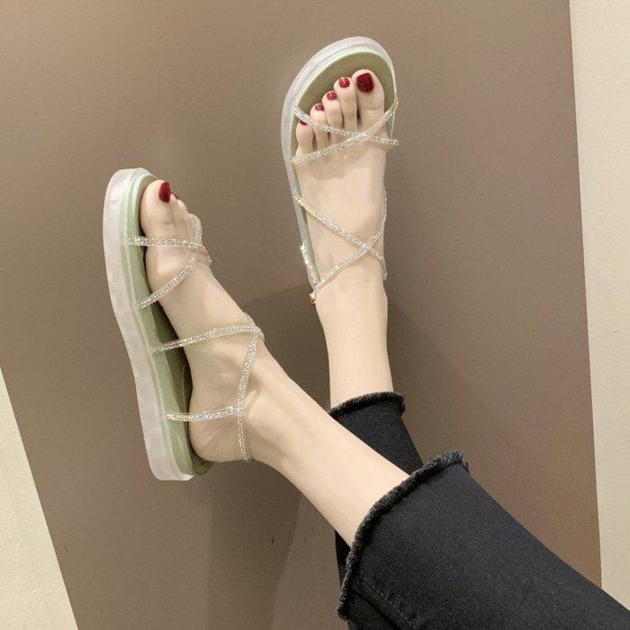 涼鞋 ins涼鞋女仙女風2019夏季新款韓版百搭露趾細帶水鉆鬆糕羅馬鞋潮