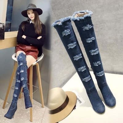 日和生活館 靴子女春新款牛仔布過膝長靴瘦腿彈力靴粗跟中跟長筒靴單鞋女 247D88