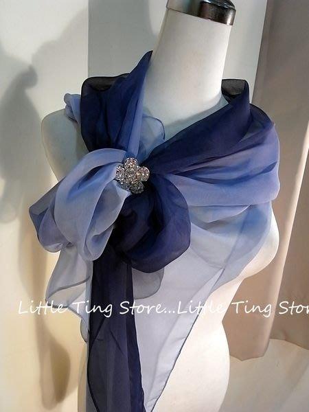 Little Ting Store:SILK漸層素面絲巾(寬版)長巾髮圈/髮帶可搭配絲巾圍巾披肩頭巾帽子 深藍 15色