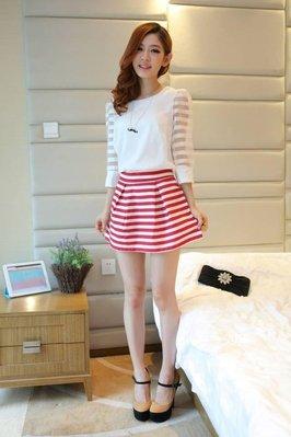 韓版女裝歐根紗條紋拚接中長袖雪紡衫(白色)-T恤 女裝 FD68 J-11537