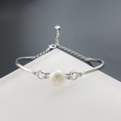珍珠 手 環 925純銀手鍊-8.5mm環環相扣生日情人節禮物女飾品73qn32[獨家進口][米蘭精品]