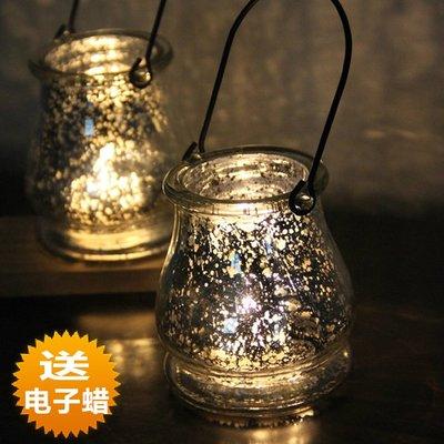 熱銷#歐式黑色鐵藝提手銀白玻璃燭臺酒吧浪漫燭光晚餐擺件送電子蠟燭#燭臺#裝飾