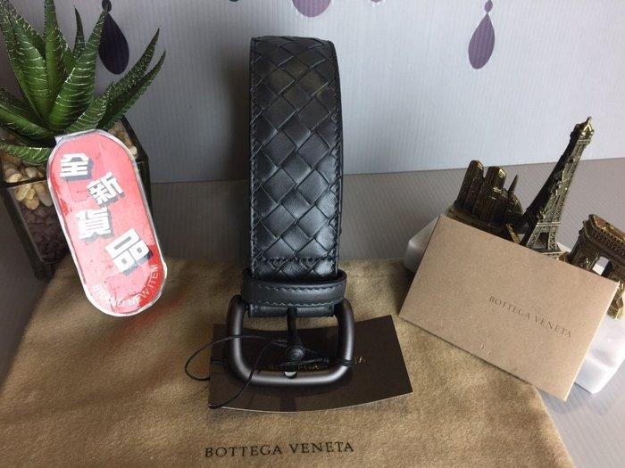 《真愛名牌精品》Bottega Veneta (BV)173784 深灰色 牛皮編織 皮帶 4cm *全新品*