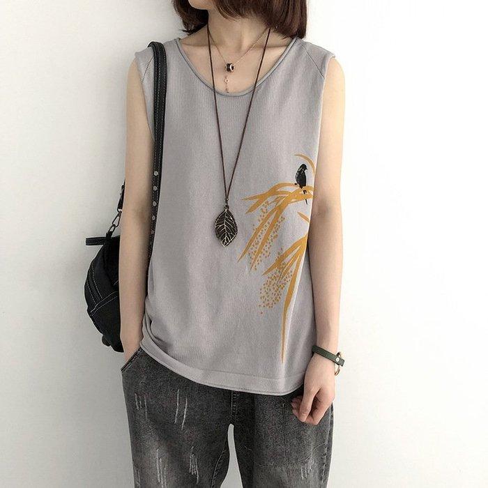 七色-文藝花草小鳥設計無袖上衣薄苧麻針織衫背心