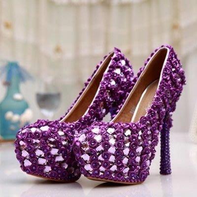 圓頭高跟鞋 水晶婚鞋-超高跟水鑽搶眼熱賣女鞋子73e29[獨家進口][巴黎精品]