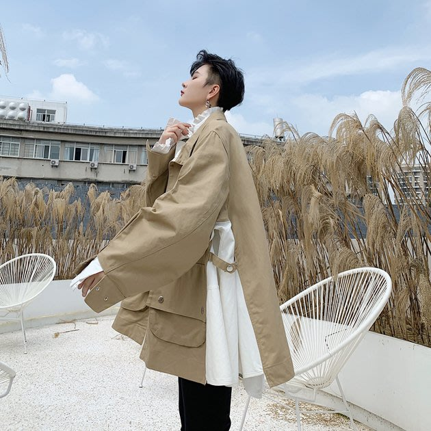 FINDSENSE 2019 秋冬上新 G19  多口袋夾克寬鬆拼接個性時尚外套男裝百搭寬鬆休閒外套