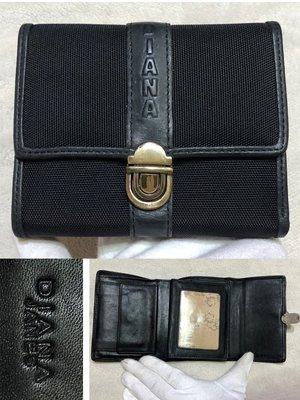 低價起標~全新 專櫃 Diana黛安娜 牛皮皮夾 真皮帆布短夾 鈔票夾 信用卡夾 似Cowa  CK MJ MK