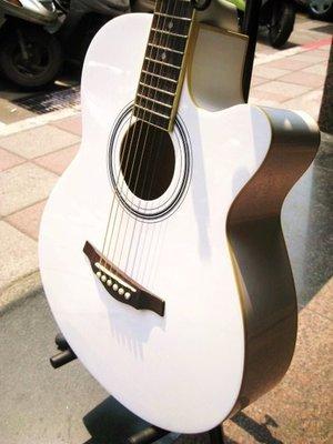 木吉他~MD全新純白木吉他 日本設計師款~2499元全配件可貨到付款