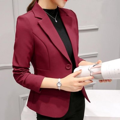 春秋季新款修身韓版大碼女士小西裝外套長袖職業氣質顯瘦西服    全館免運