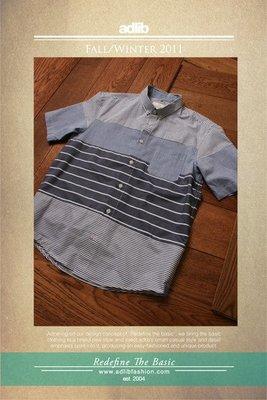 [ADLIB TAINAN]adlib 多層次橫紋MIX襯衫(0250)