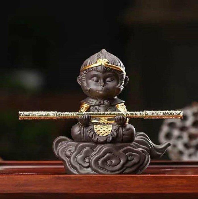 紫砂陶瓷茶寵齊天大聖悟空猴子茶玩擺件功夫車載陶瓷擺件_B