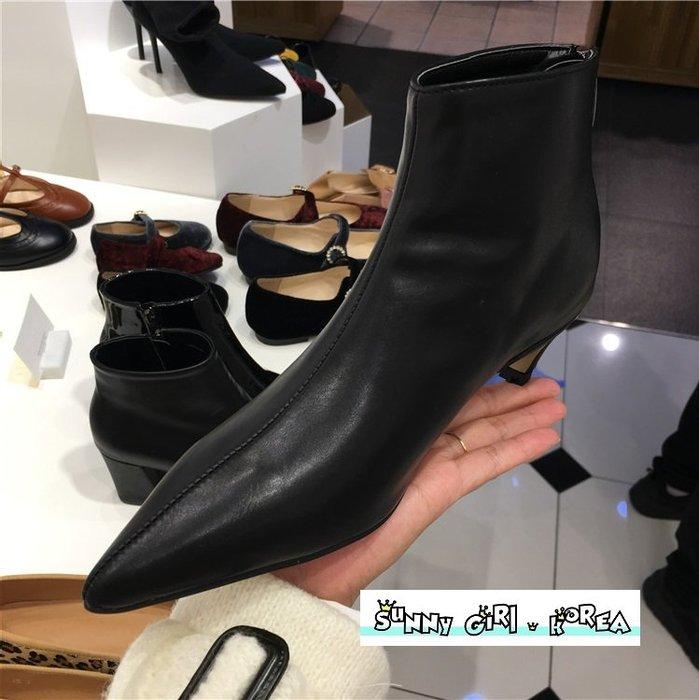 正韓短靴*Sunny Girl*韓國代購尖頭後拉鏈細跟踝靴馬丁靴 2019九月新款 - [WH1358]