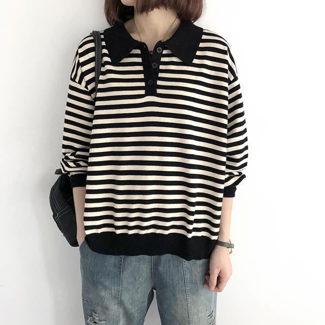 【T12767】1B42韓。翻領條紋針織衫8色F.預購。小野千尋