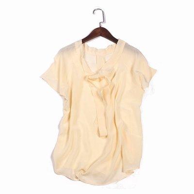 全新100%蠶絲真絲上衣--米白色素面較透明