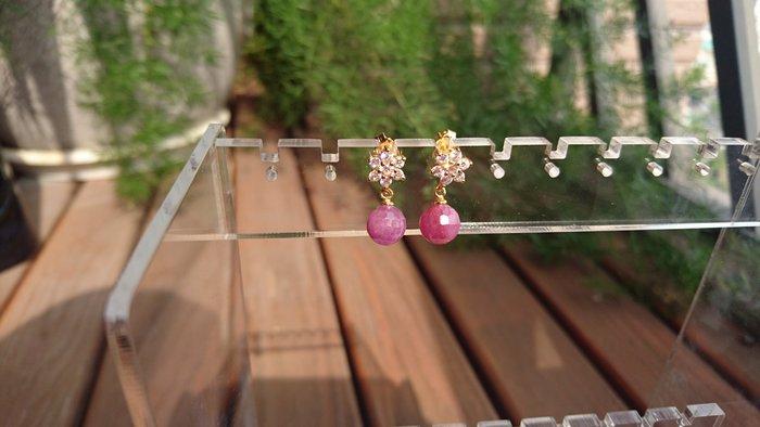 ~水晶花園~ 天然能量水晶飾品 紅寶石耳環