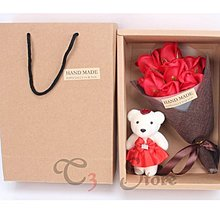 【T3】七朵香皂花 七朵玫瑰代表——我偷偷地愛著你 情人節香皂花小熊禮盒 禮物 告白 花【HF64】